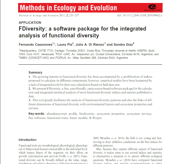 F-Diversity: a software package for the integrated analysis of functional diversity