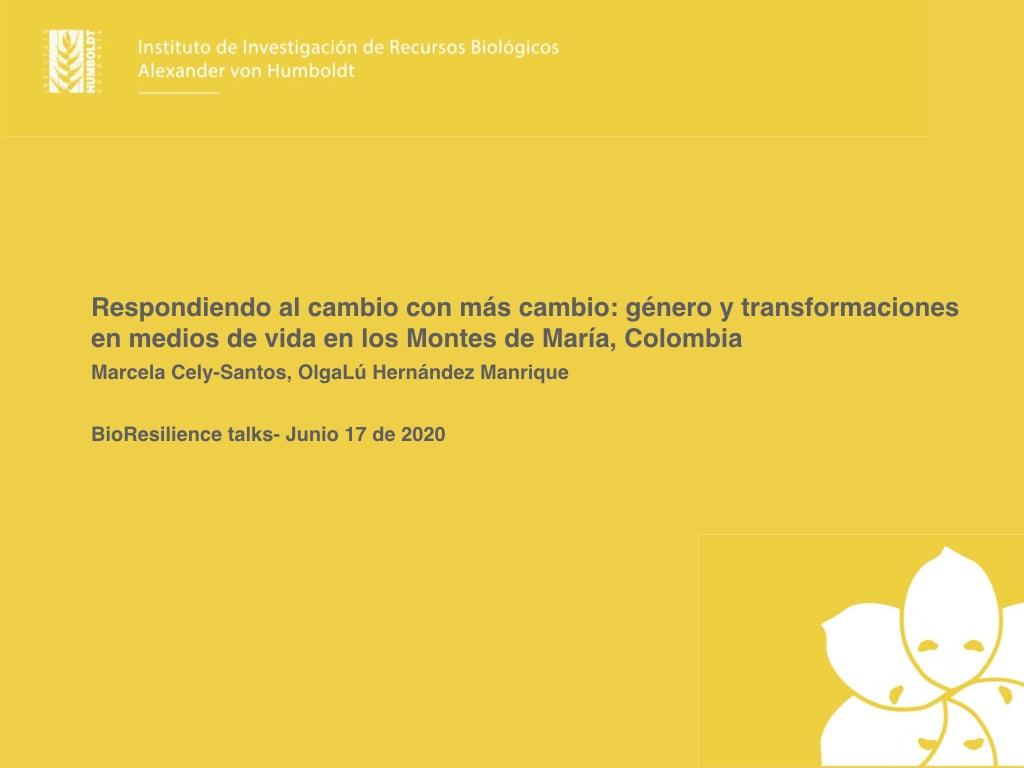 Gender and livelihood transformations in Montes de María, Colombia